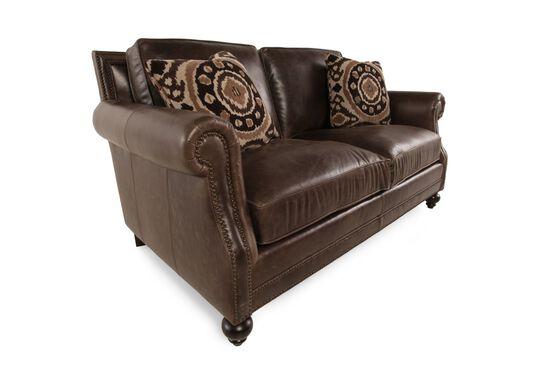 European Classic Leather Loveseat in Dark Brown
