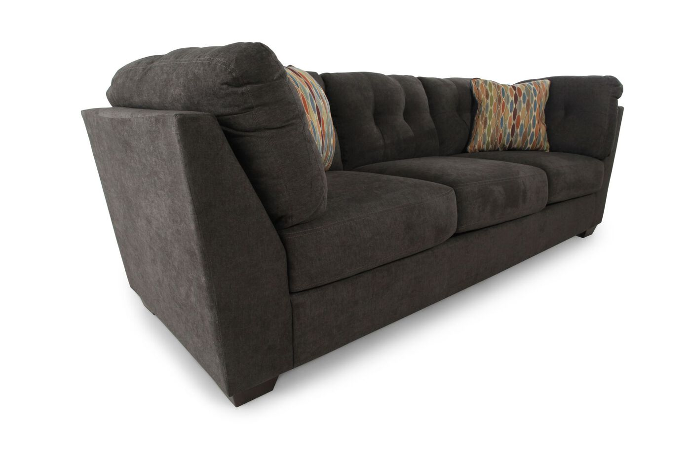 Tufted 103quot microfiber sofa in chocolate brown mathis for Chocolate brown microfiber sectional sofa