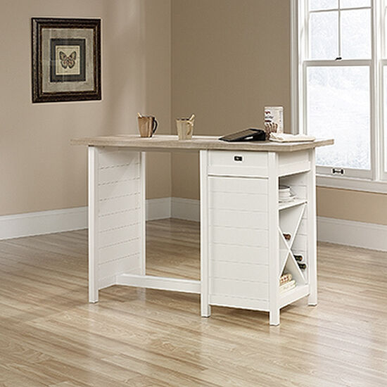"53"" Traditional One-Drawer Work Table in Soft White"