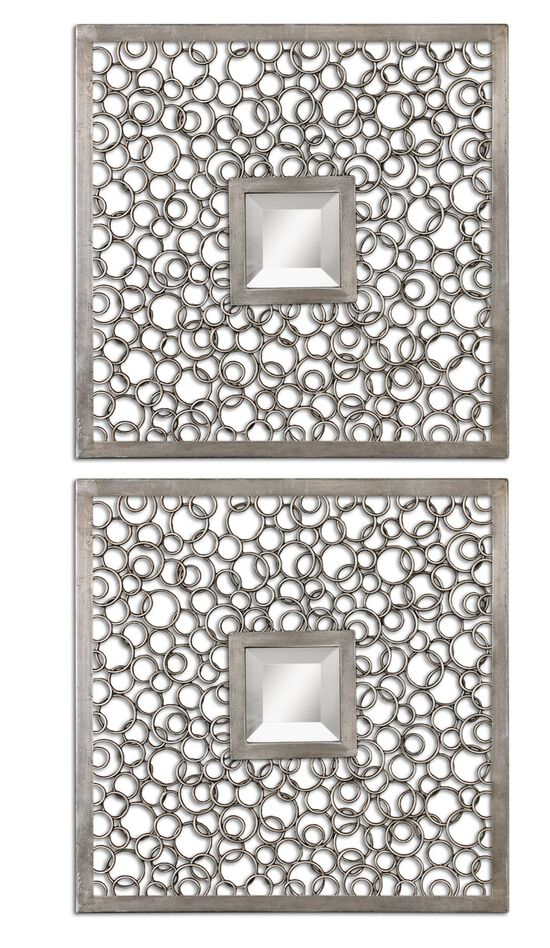 """Two-Piece 20"""" Ring Frame Accent Mirrors in Antiqued Silver"""