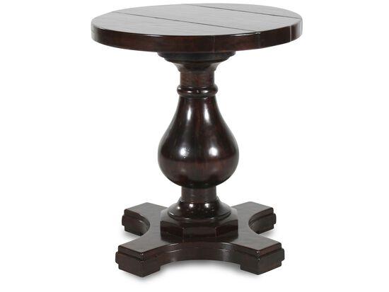 Round Traditional Side Tablein Dark Brown
