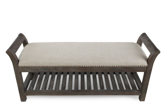 """Nailhead Accented Casual 54.5"""" Bed Bench in Cream"""
