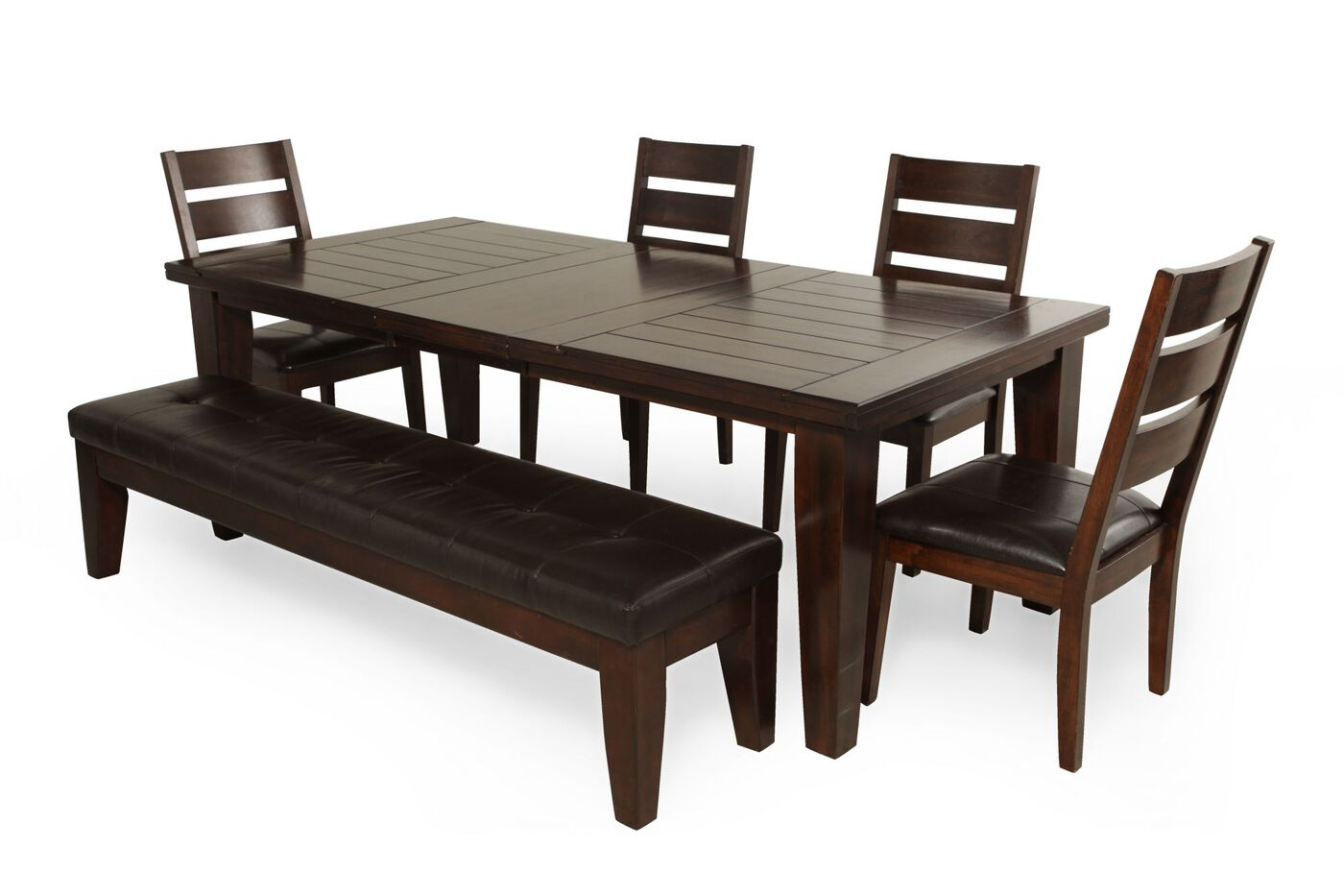 Six piece contemporary rectangle extension 72 39 39 to 90 for Dinner set furniture