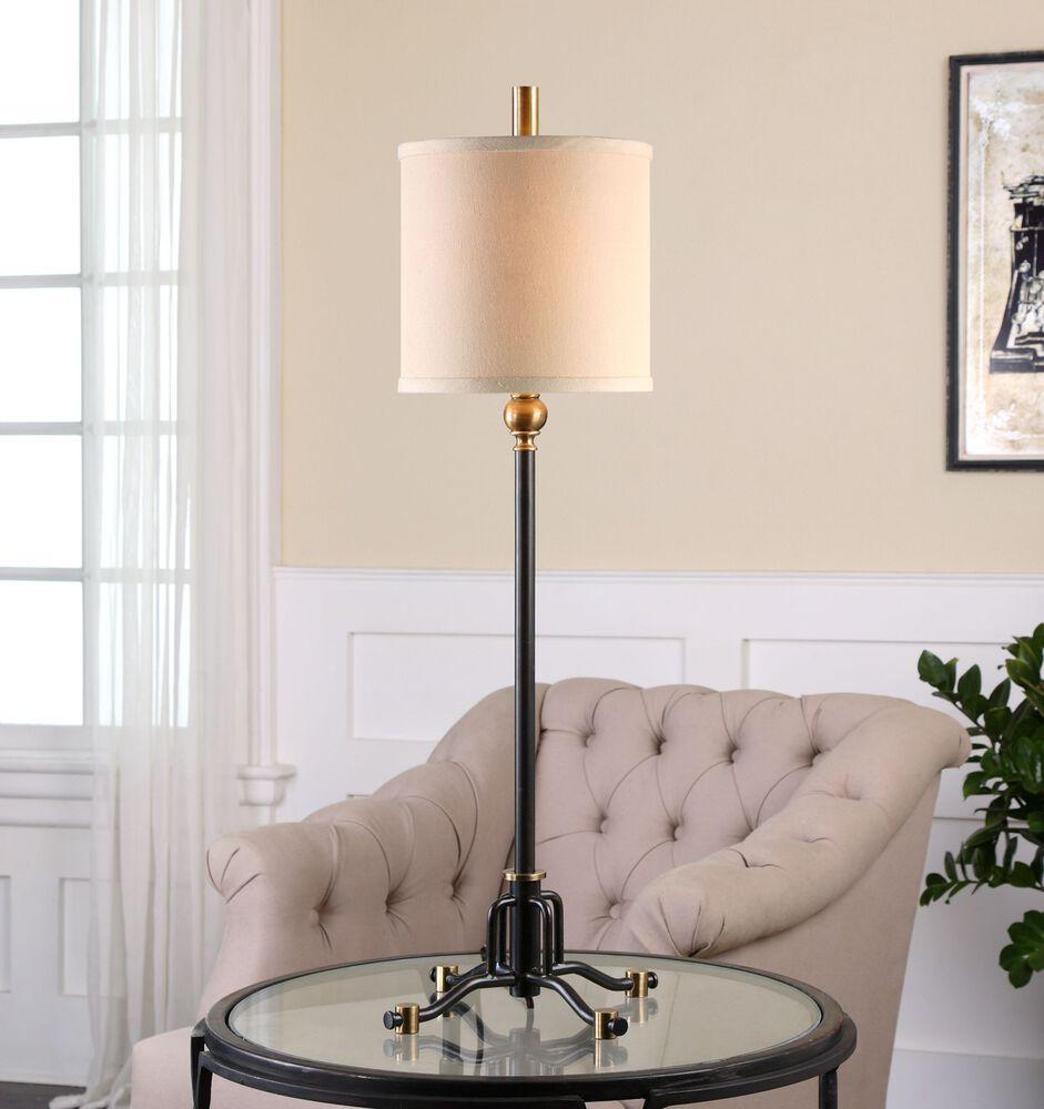 Metal Shade Buffet Lamp: Round Shade Buffet Lamp In Rust Black