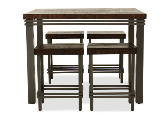 Five-Piece Casual Distressed Dining Set in Gray