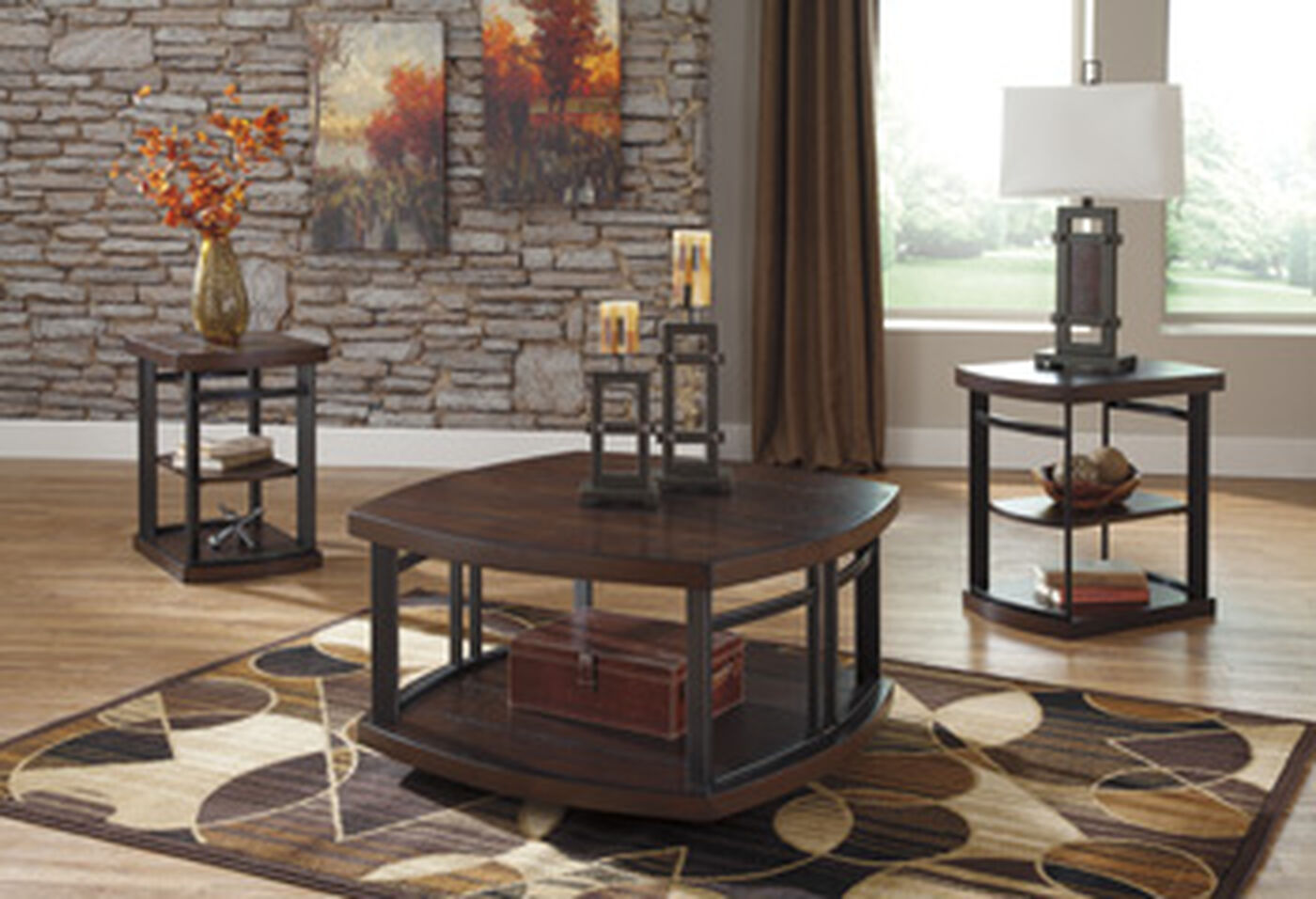 Three piece industrial accent table set in dark brown mathis brothers furniture for Living room furniture table sets