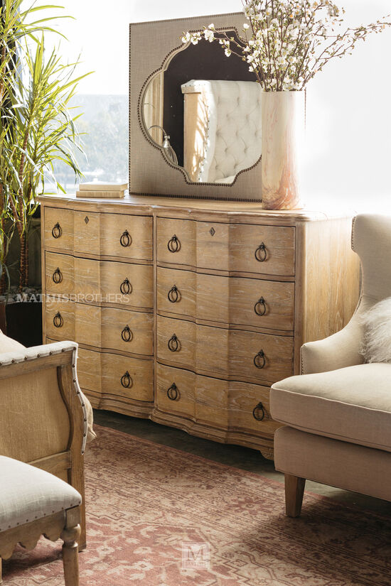 "42"" Traditional Eight-Drawer Dresser in Light Brown"