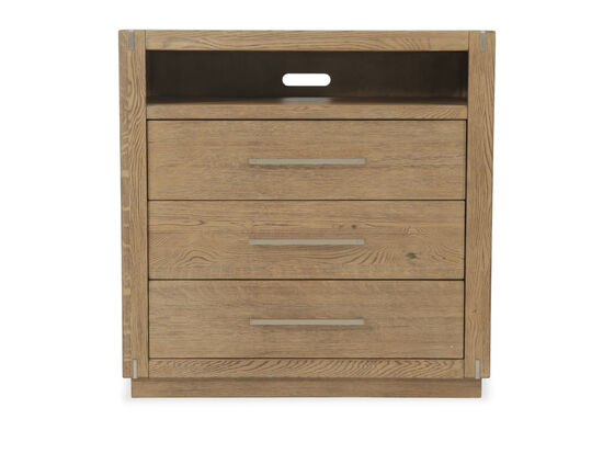 """42"""" Traditional Three-Drawer Media Chest in Light Brown"""