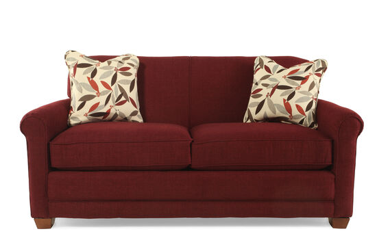 "Contemporary 73.5"" Full Sleeper Loveseat in Merlot Burgundy"