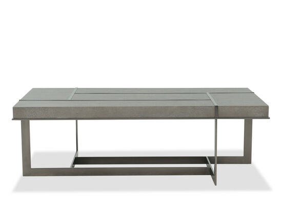 Rectangular Grille Overlay Cocktail Table in Dark Taupe