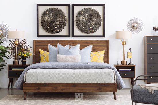 Mid-Century Modern King Bed in Brown