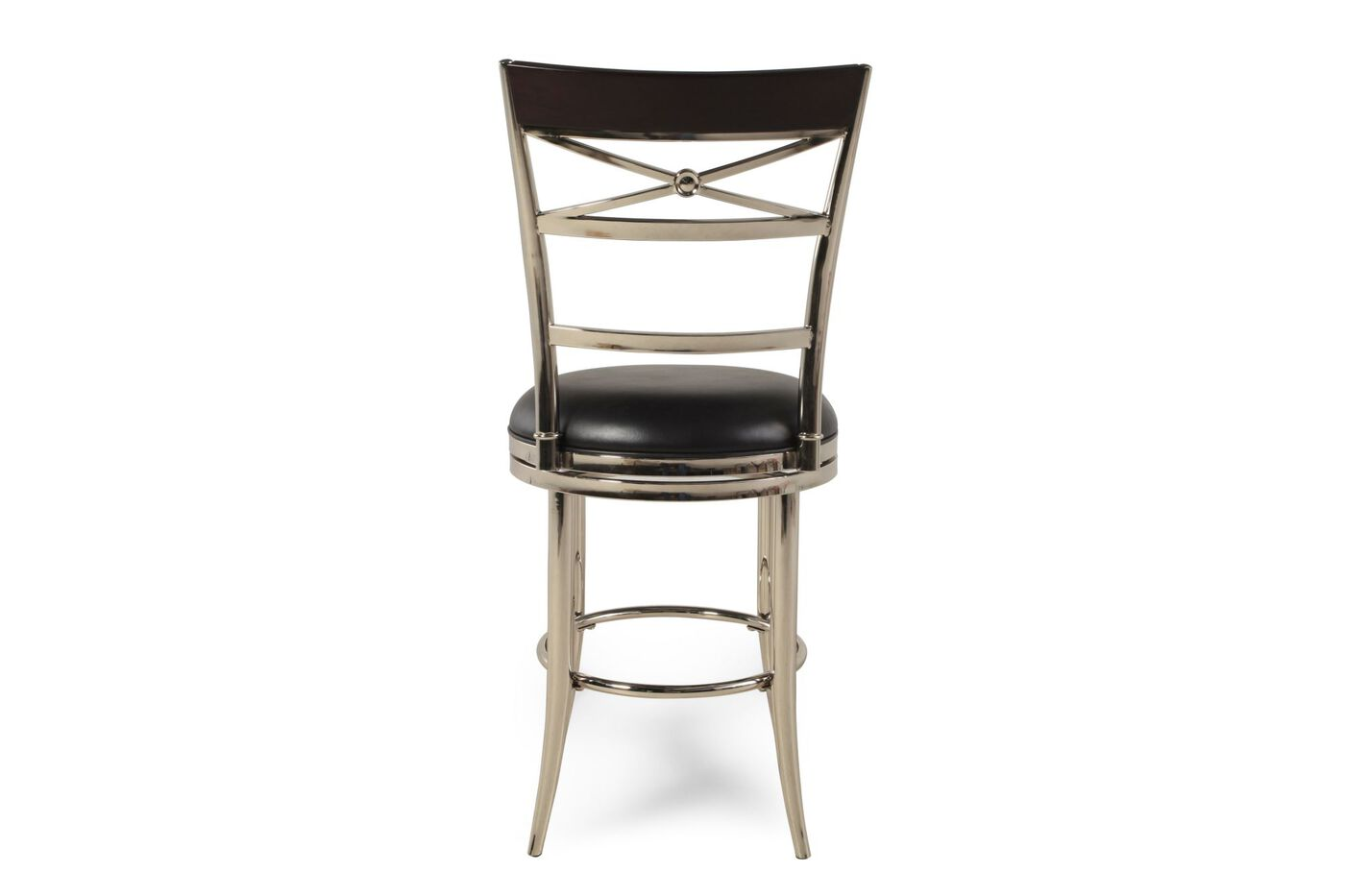 Dual Ladder And X Back 47 Quot Swivel Bar Stool In Nickel