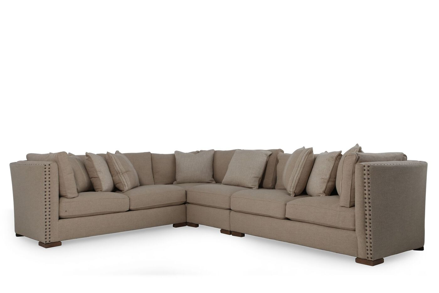Leather 120quotsectional in brown mathis brothers furniture for Sectional sofa 120