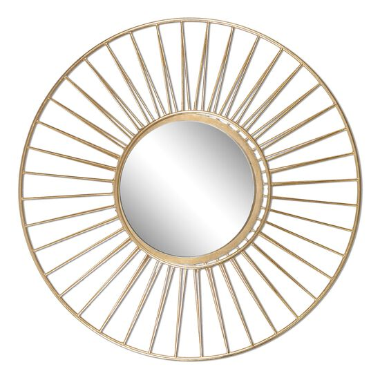 """30"""" Three-Dimensional Frame Round Mirrorin Antique Gold Leaf"""