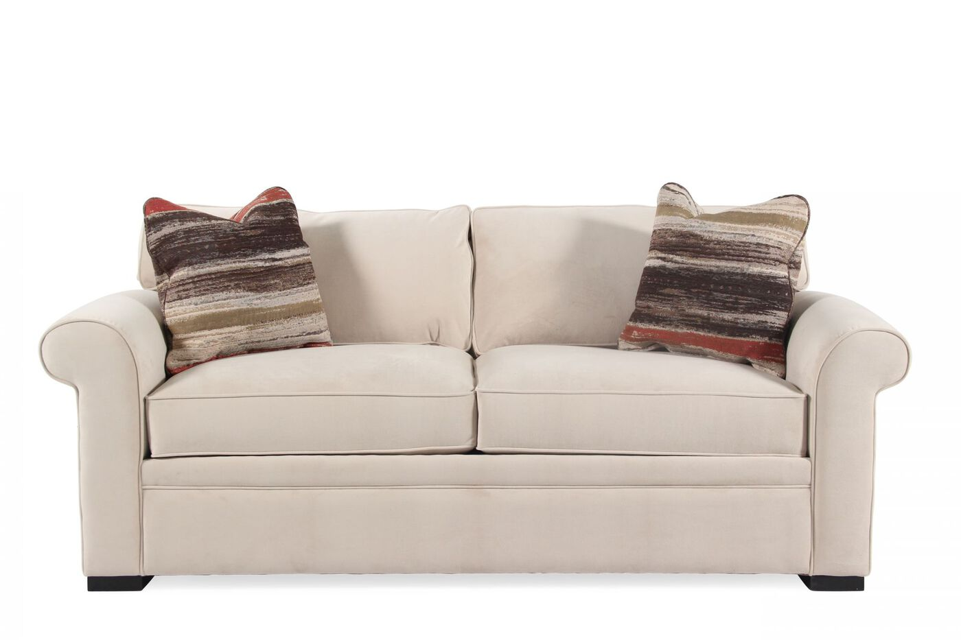 Rolled arm transitional 38quot sleeper sofa in cream mathis for Transitional sectional sofa sleeper