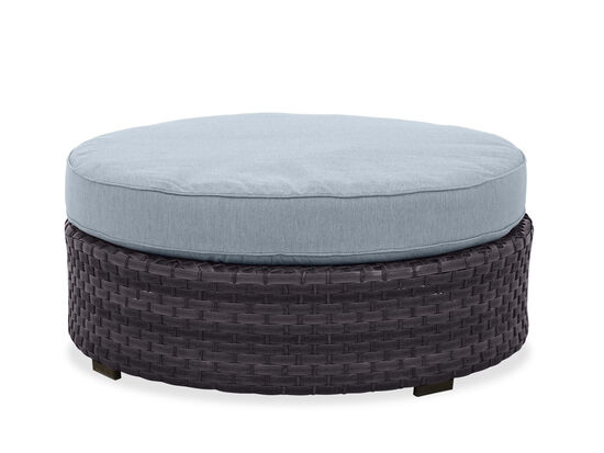 Round Woven Ottoman in Grey