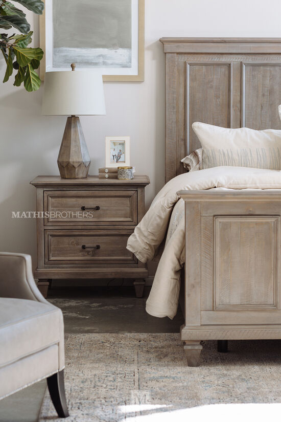 "29"" Transitional Two-Drawer Nightstand in Dovetail Gray"