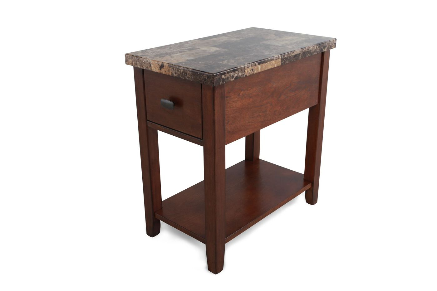 Rectangular Contemporary Chairside Table In Medium Brown Mathis Brothers Furniture