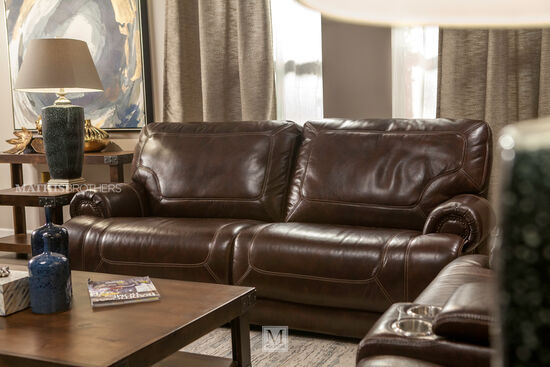 "Leather Reclining 86"" Sofa in Brown"