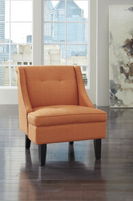 """Tufted Contemporary 28"""" Accent Chair in Orange"""