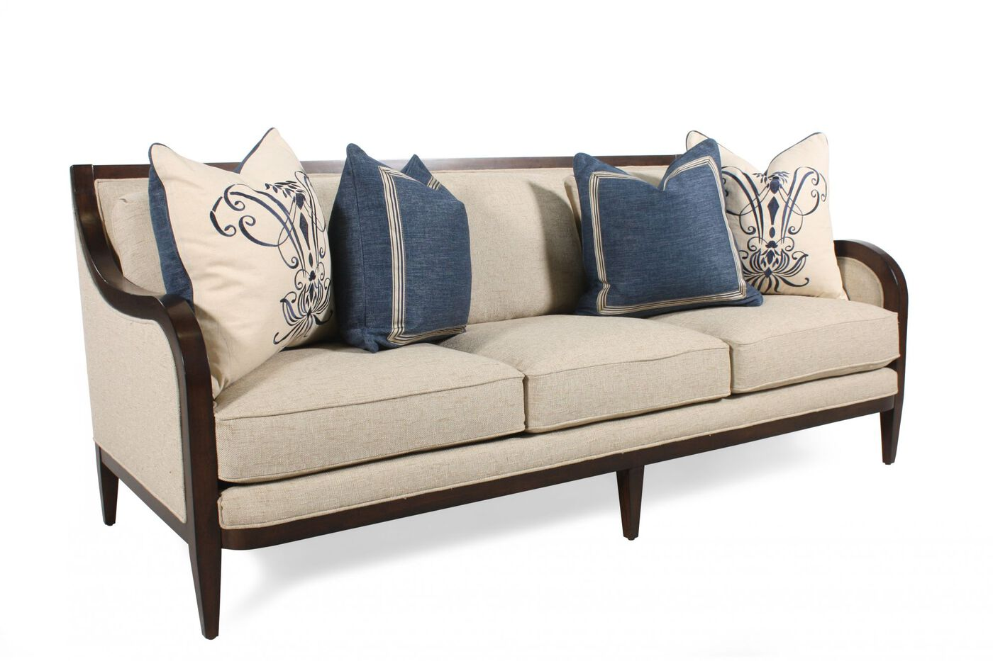 Low profile 86 sofa in golden wheat mathis brothers for Low height sectional sofa