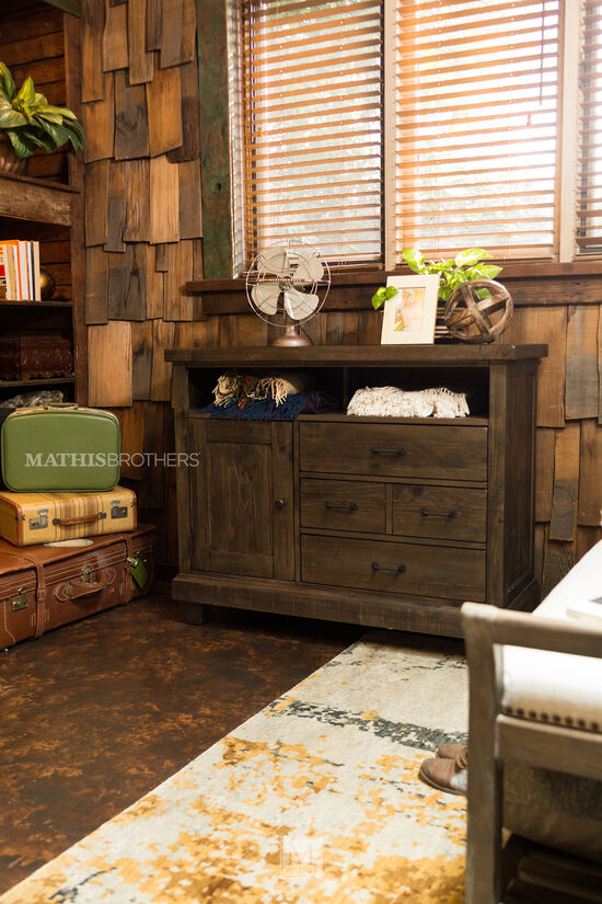 """38"""" Natural Pine Media Chest in Distressed Umber"""