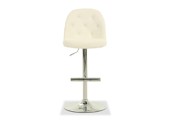 Leather Button Tufted Adjustable Bar Stool in White