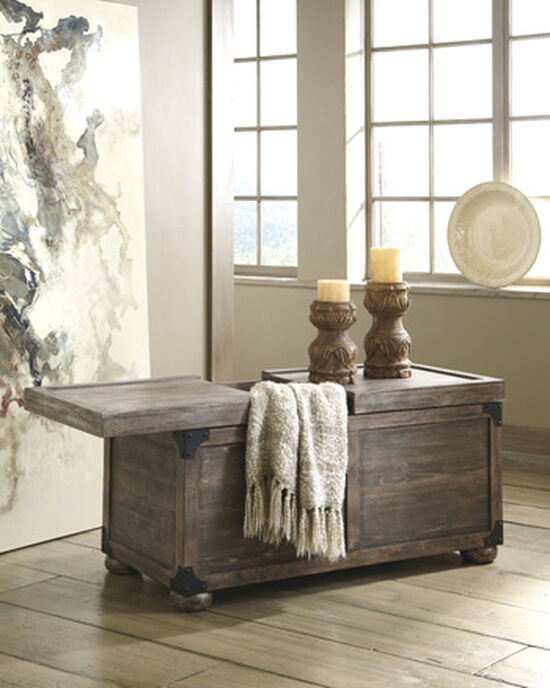 Rectangular Casual Storage Cocktail Table in Gray Brown