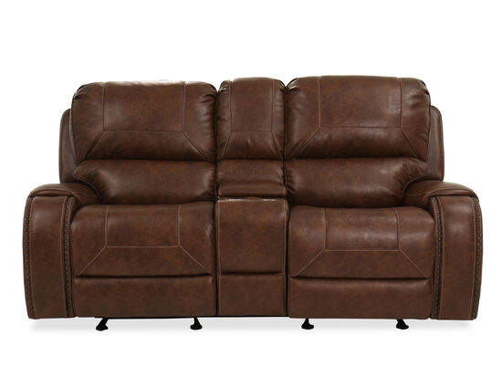 "Contemporary Nailhead-Accented 78"" Reclining Loveseat in Brown"