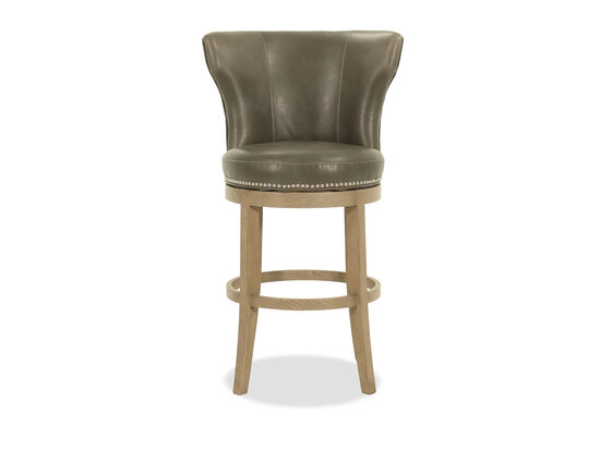 Contemporary Leather Bar Stool in Gray