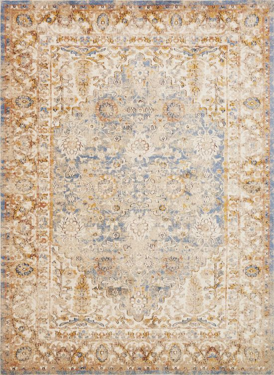 """Traditional 1'-6""""x1'-6"""" Square Rug in Blue/Multi"""