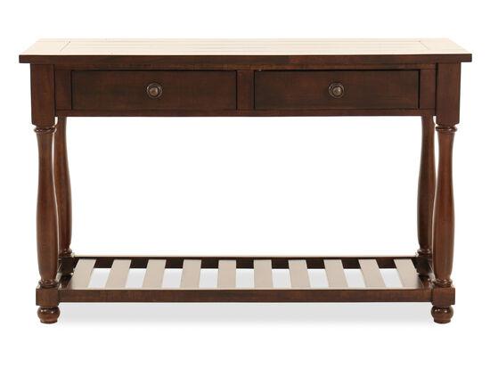 Open-Slatted Shelf Contemporary Sofa Table in Dark Brown