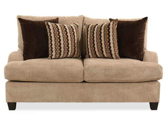 "Rolled Arm Traditional 69"" Loveseat in Brown"