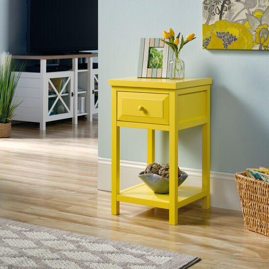 One-Drawer Contemporary Side Table in Yellow