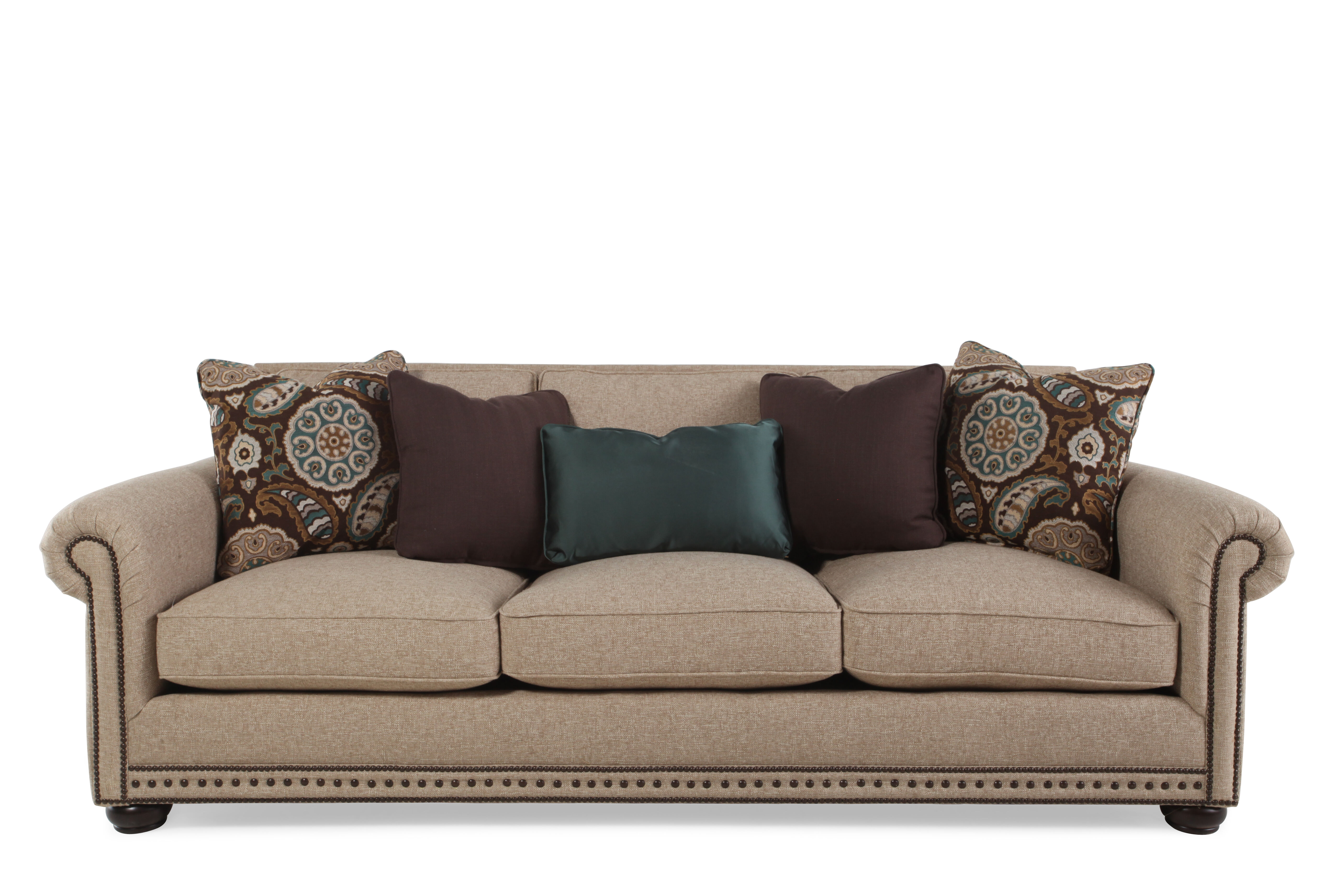 Images High Profile Nailhead Accented 96u0026quot; Sofa In Beige High Profile  Nailhead Accented 96u0026quot; Sofa In Beige