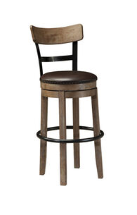 "Casual 43"" Nailhead Accented Swivel Bar Stool in Light Brown"