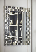 "33.5"" Contemporary Layered Block Accent Mirror in Silver"