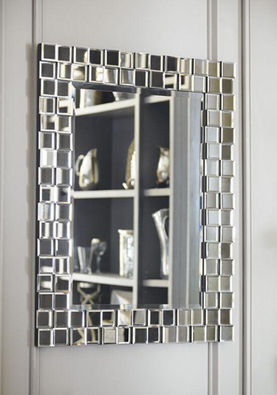 "33.5"" Contemporary Layered Block Accent Mirror in Silver"