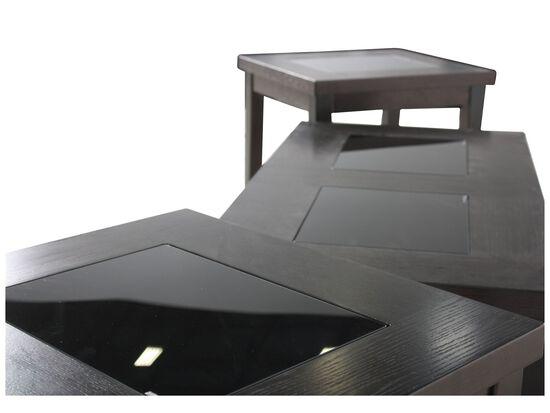 Three-Piece Rectangular Contemporary Coffee Table Set in Dark Brown