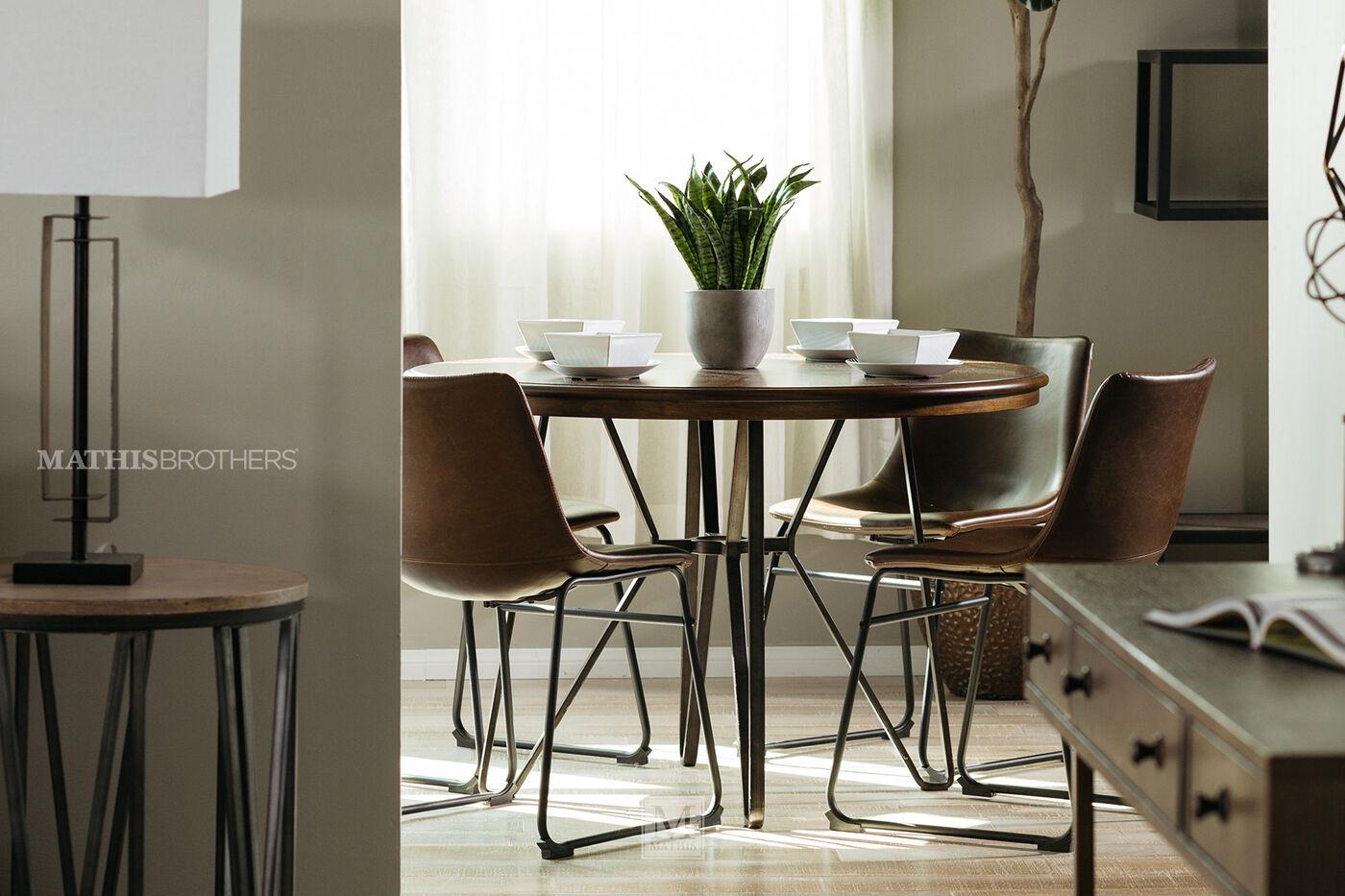 Five-Piece Mid-Century Modern 45'' Round Dining Set In