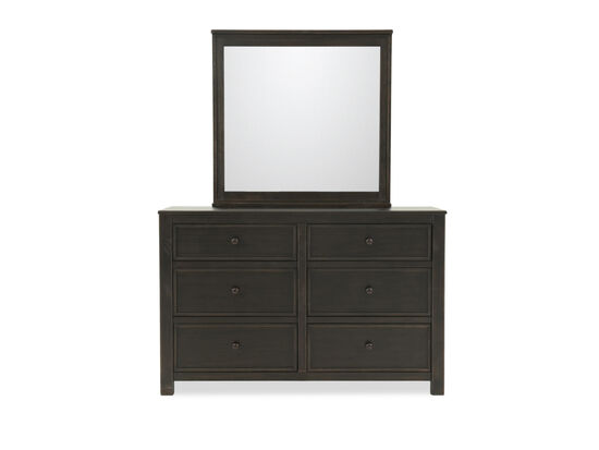 Six-Drawer Casual Youth Dresser and Mirror in Black
