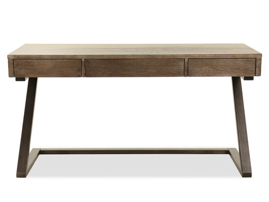 60'' Three-Drawer Contemporary Desk in Grayish Brown