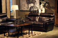 """Casual Leather 68"""" Loveseat in Blackberry"""