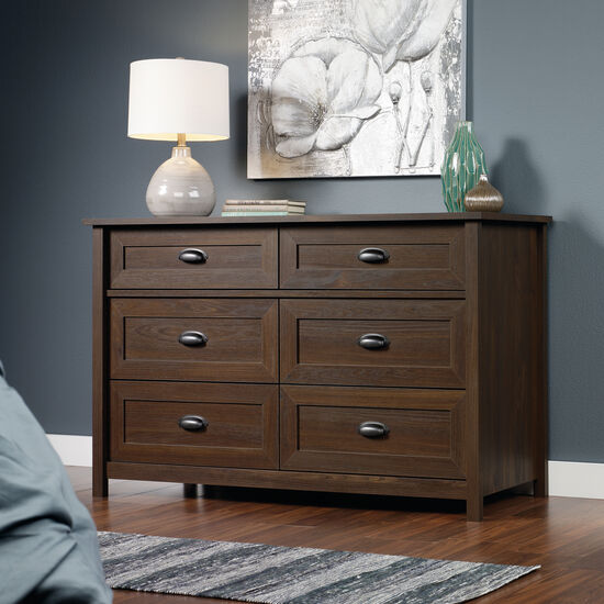"33"" Contemporary Paneled Six-Drawer Dresser in Rum Walnut"