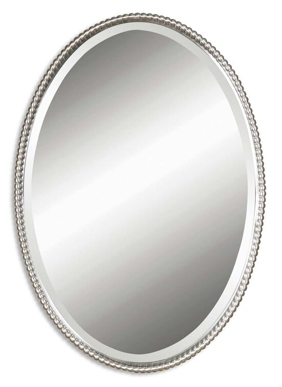 "32"" Beveled Oval Mirror in Brushed Nickel"