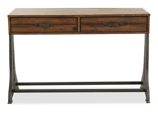 Two-Drawer Rectangular Sofa Table in Brown