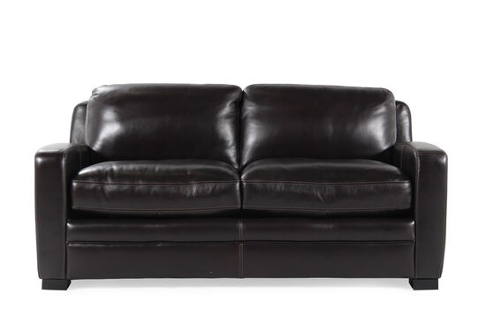 "Traditional Leather 73"" Full Sleeper Sofa in Black"