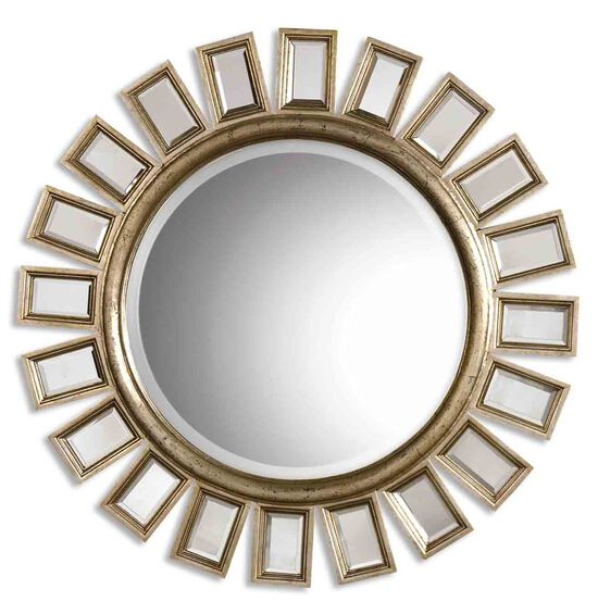 "33.5"" Beveled Round Mirror in Aged Champagne"