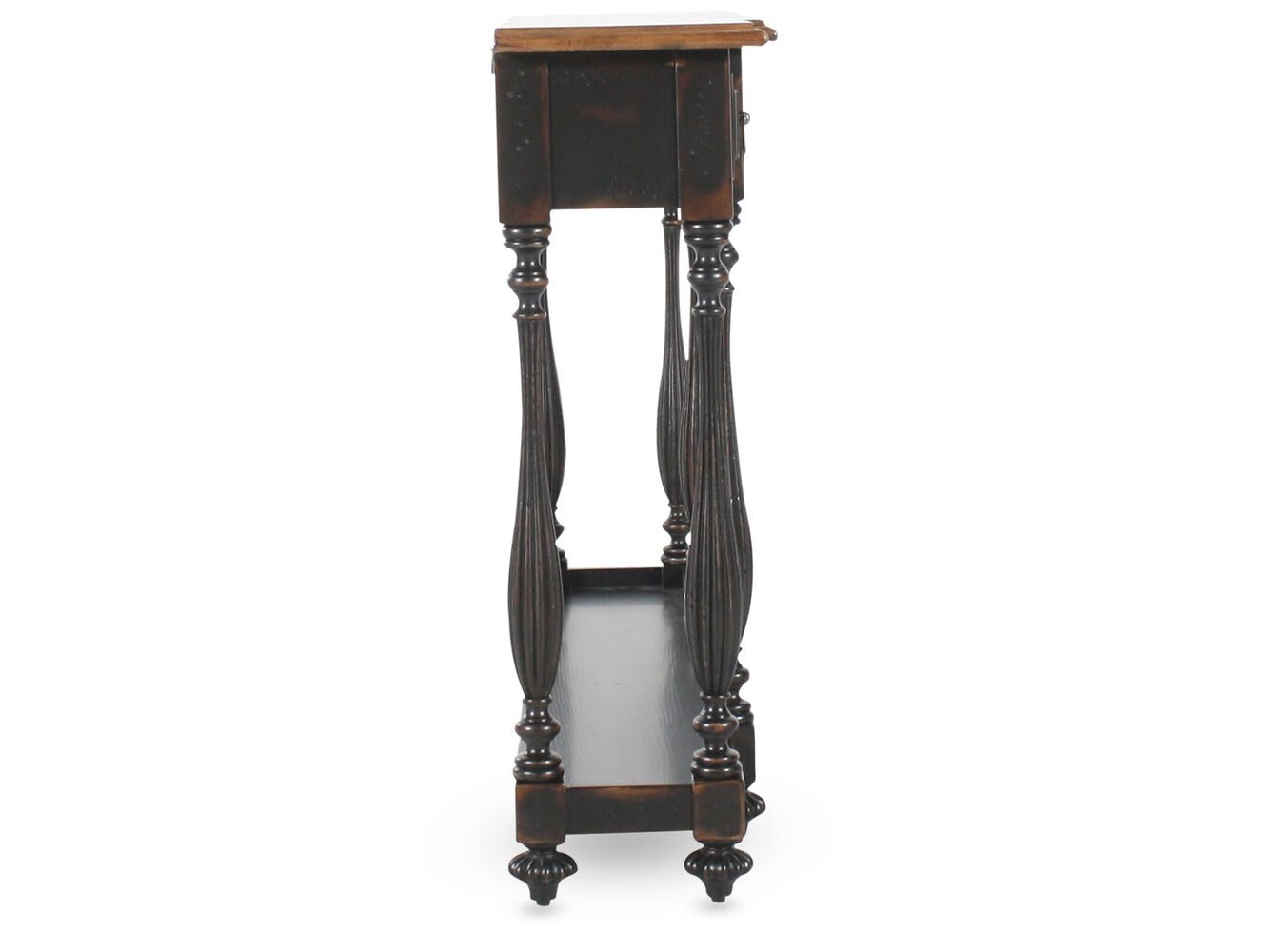 Turned legs country console table in ebony mathis brothers furniture turned legs country console table in ebony geotapseo Image collections