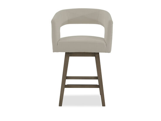 "Microfiber Nailhead Accented 37"" Open Back Bar Stool in White"